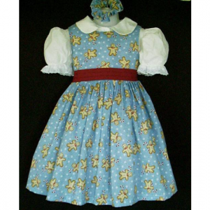 NEW Christmas Gingerbread Candy Cane Blue Dress Set Custom Sz 12M-14Yrs