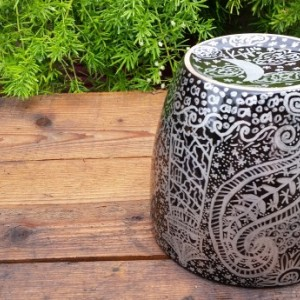 Black Ceramic Pot with Beautiful Silver Hand-Drawn Designs