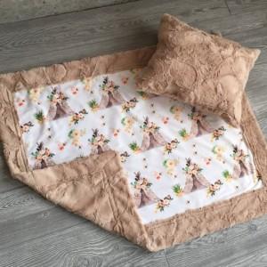 ShipsNow Teepee Minky Baby Blanket Teepee Pillow Teepee Boho Flower Girl
