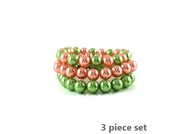 Pink and Green Pearl Alpha Kappa Alpha Inspired  3 Piece Stretch Bracelet