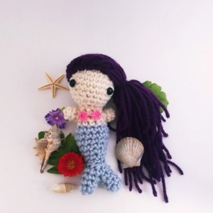 Mini amigurumi mermaid, mermaid, crochet mermaid, handmade mermaid, mermaid doll, mermaid toy, purple mermaid, amigurumi, mermaid doll, ooak