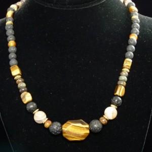Tiger eye  Lava Necklace