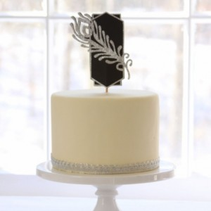 Great Gatsby Party Cake Topper - Silver Gold Glitter Feather - Gatsby Cake Topper - Art Deco Style - Wedding - Roaring 20s - Centerpiece