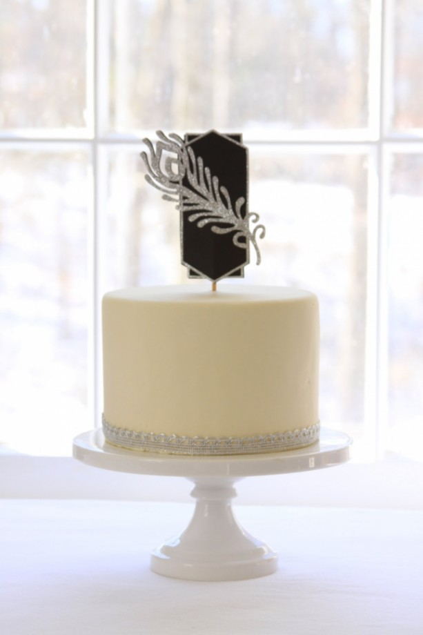 Great Gatsby Party Cake Topper Silver Or Gold Glitter