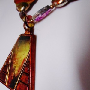 Aurora Borialis Sunset Reds & Gold Cleopatra Necklace