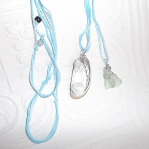 Natural green abalone shell and Green sea glass