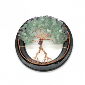 Horseshoe Tree of Life with Matte Purple and Green Quartz Chips
