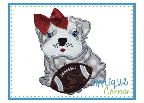 Bulldogs Football Fan Shirt, Dawgs, Bulldog with Football Appliqué Shirt or Bodysuit, Puppy Shirt