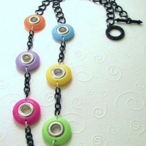 Plastic Necklace Disc Necklace Black Chain Necklace Pastel Necklace Colorful Necklace