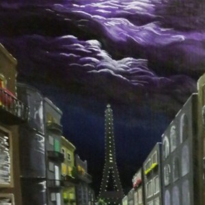 Acrylic painting cityscape Paris city street with buildings,wet road and eiffel tower under purple storm clouds