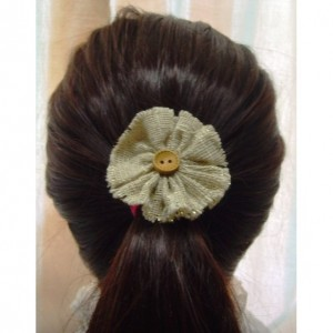 Natural Glitter Burlap Flower Hair Clip w/Button accents - Rustic Country Shabby chick for Women