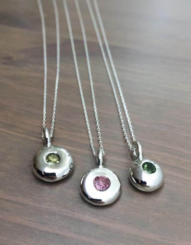 Tourmaline Charm Necklaces. Tourmaline Necklace. Birthstone Charm Necklace. Silver Jewelry. Fine Jewelry