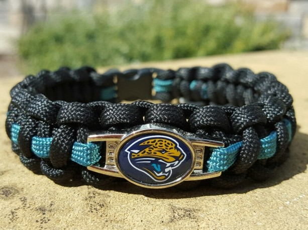 Jacksonville Jaguars Paracord Bracelet NFL Officially Licensed Charm