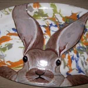 Hand painted Bunny Rabbit Easter platter