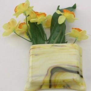 Magnetic glass vase / pen & paper holder - Almond streaky