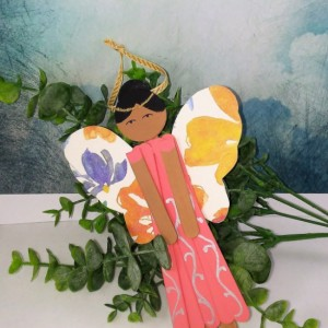 Summer Angel / Wood Ethnic Angel Decor / Valentine's Day Gift / Personalized Friendship Gift / Hanging Charm