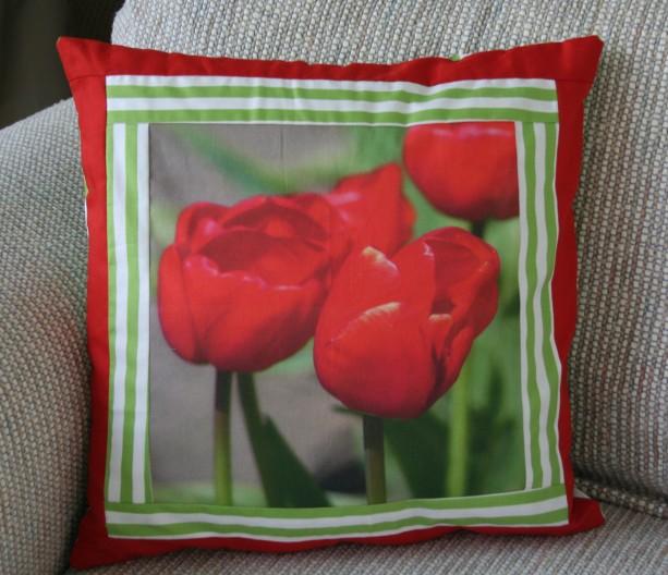 Red Tulips Photo Fabric Panel