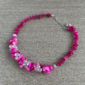 Pearl Statement Necklace, Beaded Necklace, Chunky Necklace, Statement Necklace, Pearl Necklace, Fuchsia Necklace, Pink Statement Necklace