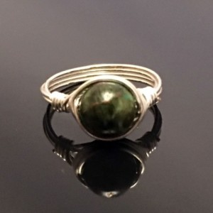 Handmade .999 Fine Silver Blood Dragon Jasper Solitaire Ring