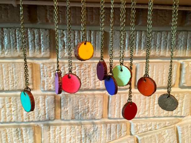 Colorful Wood Charm Necklace (Rustic Jewelry - Turquoise, Red, Orange, Yellow, Mint Green, Plum, Lavendar, Bright Blue, Bronze)