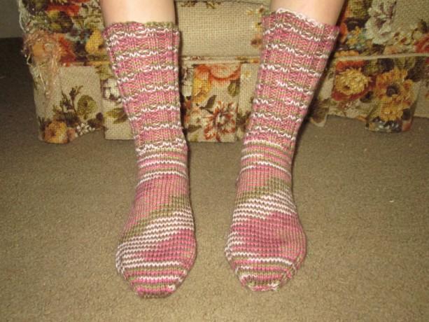 Hand Knit Adult Winter Socks- Pink Camo