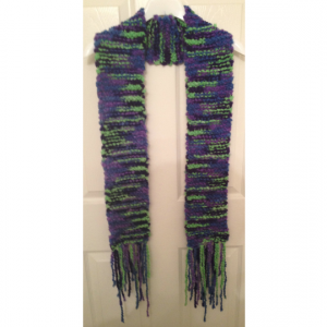 Chunky Blue, Green, and Lavendar Scarf