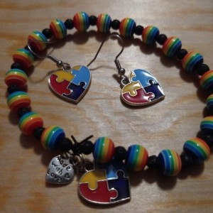 Autism bracelet and earring set heart