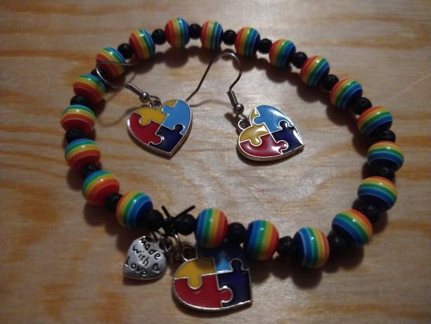Autism bracelet and earring set heart
