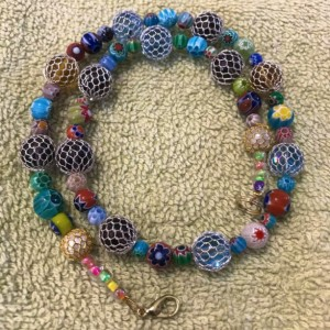 """Celebration of Color handmade beaded necklace 17"""" long"""