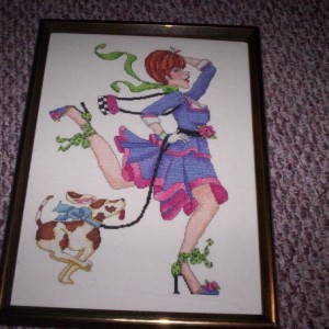 Woman and her dog cross stitch picture