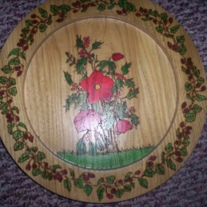 turned wooden decorated plates