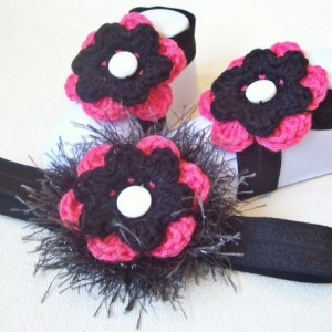 Crochet Flower Bare Foot Sandal, Toe Blooms, Headband Newborn Set - Hot Pink, Black