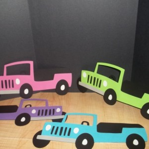 12 Pcs Pink Jeep Cupcake Toppers Set - Made To Order
