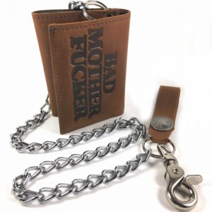 "Mature Bad Mother F*cker BMF Mens Basic Trifold Wallet, 18"" CHROME CHAINS ONLY, US Military Key FOB,Army,Navy,Marine,Vets,Air Force"