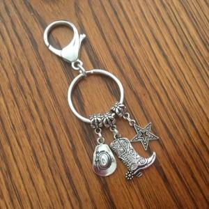 Keychain, Car Accessories, Key Chain, Cowgirl Keychain, Cowboy Hat, Cowboy Boot, Lone Star State Keychain, Texas Keychain