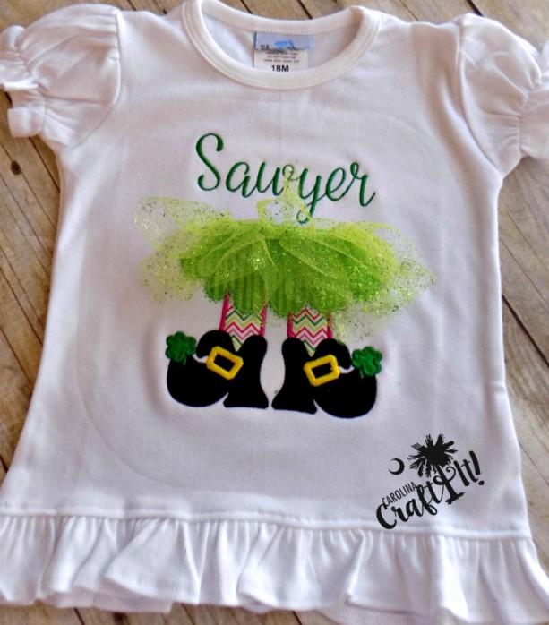 522f2439f ... Toddlers St. Patricks Day Tshirt, Girl Leprechaun, Green, Pink, Tutu,  ...
