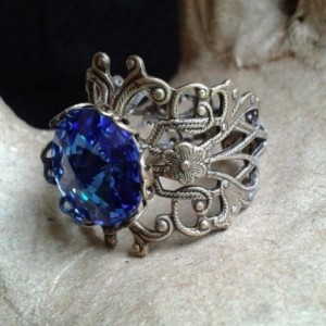 Ocean Blue Crystal Filigree Ring *30% off* (Was $20)