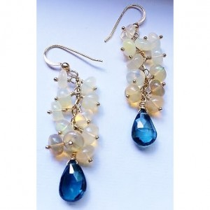 October: Glowing Opal & London Blue Topaz Gold Dangle Earrings