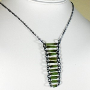 Emerald Green Bi-Colour Tourmaline Necklace, Oxidized Sterling Silver