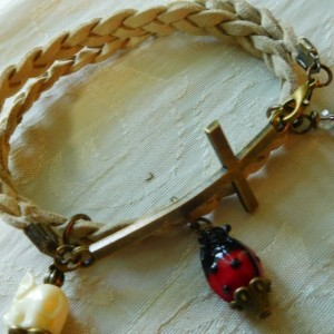 Natural suede leather braided bracelet with bronze tone Cross and charms #B00213
