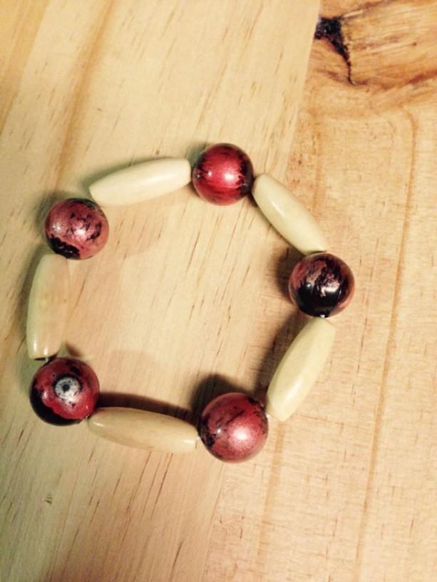 African inspired wooden beaded bracelet