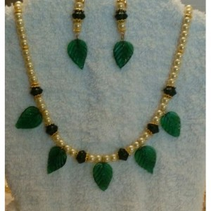 Green Leaves  Necklace and Earring Set