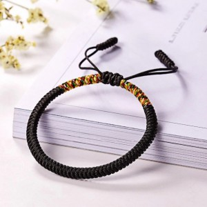 Black Tibetan Buddhist Lucky Rope Bracelet, Meditation Bracelets For Women Men, Handmade Knots Rope Buddhist Bracelet, Yoga Bracelet, Prayer