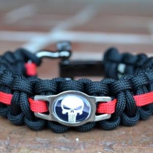 Black and Red Punisher Paracord Bracelet w/ Gun Metal Adjustable Shackle