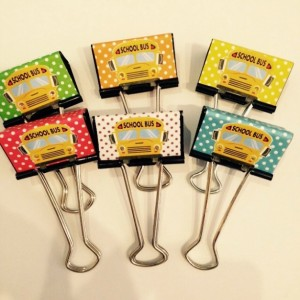 School Days Large Binder Clips (set of 4)
