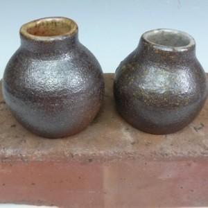 Set of 2 Wood Fired Bottles - Pottery Bud Vases