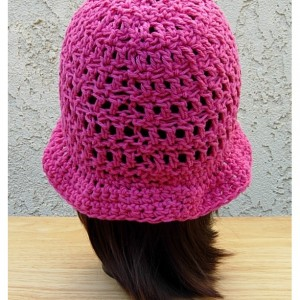Women's Hot Pink Summer Sun Hat, Lightweight Cotton Crochet Knit Solid Dark Pink Beach Beanie, Bucket, Cap with Brim, Ready to Ship in 2 Days