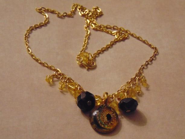 Glass Black Sliver Moon Gold Celestial Pendant Beveled Yellow Swarovski Crystal Black Beveled Semi Precious Fluorite Beads Golden Necklace