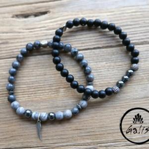 Men's Bracelet Set - Men's Beaded Bracelet - Men's Cuff Bracelet - Men's Jewelry - Men's Gift - Boyfriend Gift - Present For Men - Husband