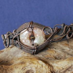 Copper and Unakite Woven Bracelet,